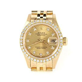 Rolex Oyster Date Just Diamond Bezel & Dial 18k Gold Ladies Watch 69178