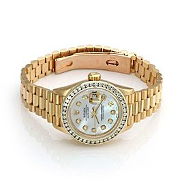 Rolex Oyster Date Just Mother of Pearl Diamond Bezel 18k Gold Watch Paper