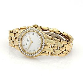 50502 Patek Philippe Neptune 1ct Diamonds 18k Yellow Gold Date Ladies Watch