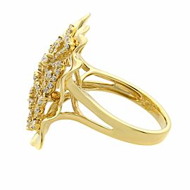 Rachel Koen 18K Yellow Gold Large Floral Diamond Cocktail Ring 0.75cttw
