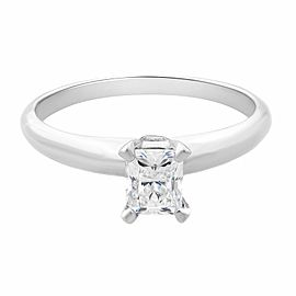 Rachel Koen 14K White Gold Emerald Solitaire Engagement Ring 0.30cttw Size 6.75