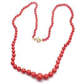 Vintage Buccellati 18k Yellow Gold Graduated Coral Bead Necklace