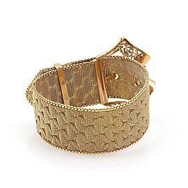 Retro 18k Yellow Gold Wide Fancy Mesh Belt & Buckle Bracelet