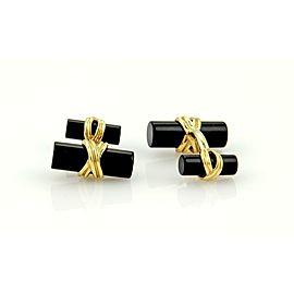 Tiffany & Co. 18k Yellow Gold & Onyx Column Post Design Cufflinks