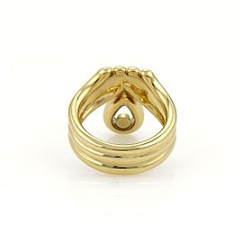 Chopard Happy Diamond 18k Yellow Gold Fancy Ribbed Style Ring Size 5.25