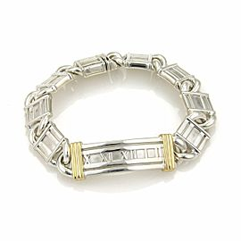 Tiffany & Co. ATLAS Numeral Sterling 18k Gold Curved Long Bar Bracelet