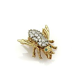 Vintage Diamond & Emerald 14k Yellow Gold Bee Brooch Pin