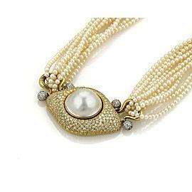Estate 4ct Diamond 18k Gold Mabe Pearl Pendant Multi-Strand Pearl Necklace