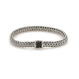 John Hardy Black Sapphire Sterling Silver 6.5mm Woven Link Bracelet