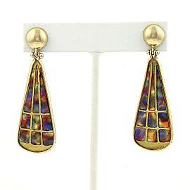 Vintage 18k Yellow Gold Multicolor Enamel Long Pear Shape Dangle Earrings