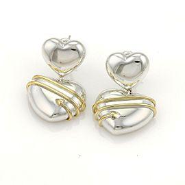 Tiffany & Co. 18k Yellow Gold 925 Silver Cupid Arrow Hearts Drop Dangle Earrings