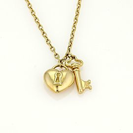 Tiffany & Co.18k Yellow Gold Puff Heart Lock & Key Pendant Necklace