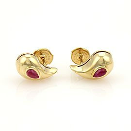 Chopard Cabochon Rubies & 18k Yellow Gold Curved Pear Shape Stud Earrings W/cert