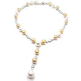 Authentic! Cartier Calin Platinum Diamond Tahitian & South Sea Pearl Necklace