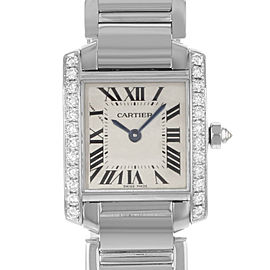 Cartier Tank Francaise 18K White Gold Diamond Quartz Ladies Watch WE1002S3