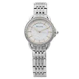 Bulova Diamond Stainless Steel MOP Dial Quartz Ladies Watch 96R146