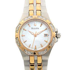Bulova 24-Diamonds Rose Gold Tone Stainless Steel Quartz Womens Watch 98R133