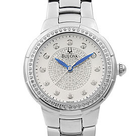 Bulova Stainless Steel White Diamond-set Dial Quartz Ladies Watch 96R168