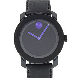 Movado Bold Black Dial Blue Accents Steel Plastic Quartz Unisex Watch 3600479