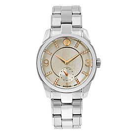 Movado LX Steel Diamond Mother of Pearl Dial Quartz Ladies Watch 0606619