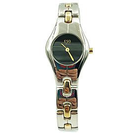 ESQ Movado Tonneau Two Tone Steel Black Dial Quartz Ladies Watch 07100710