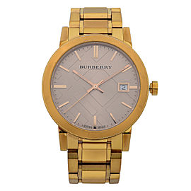 Burberry The City Gold Tone Stainless Steel Rose Dial Quartz Ladies Watch BU9034
