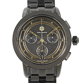 Tory Burch Black Ion Plated Steel Gold Accents Dial Ladies Quartz Watch TRB1025