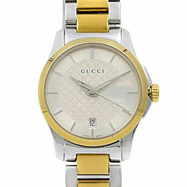 Gucci G-Timeless Two Tone Silver Dial Steel Quartz Ladies Watch YA126531