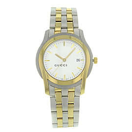Gucci 5500 Gold Tone Steel Swiss White Dial Quartz Mens Watch YA055216