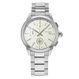 Tory Burch Collins Cream Dial Chronograph Steel Quartz Ladies Watch TB1252