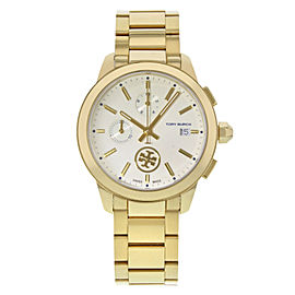 Tory Burch Collins Chrono Gold Tone Steel Cream Dial Ladies Quartz Watch TB1250