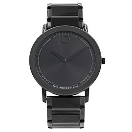 Movado Sapphire Black Dial Analog PVD Thin Steel Quartz Mens Watch 0606882