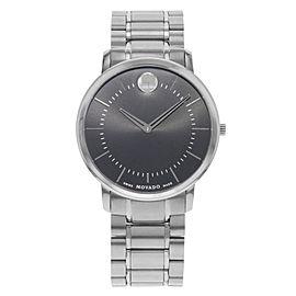 Movado Thin Classic 40mm Black Dial Stainless Steel Quartz Mens Watch 0606687
