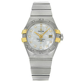 Omega Constellation Silver Dial Date Steel Gold Ladies Watch 123.20.31.20.55.004
