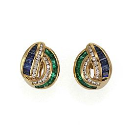 Charles Krypell 2.60ct Diamond Emerald Sapphire 18k Gold Post Clip Earrings