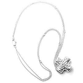 Damiani 18k White Gold Diamond Cross Pendant Necklace