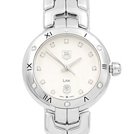 TAG Heuer Link Steel Diamond Silver Guilloche Quartz Ladies Watch WAT1413.BA0954