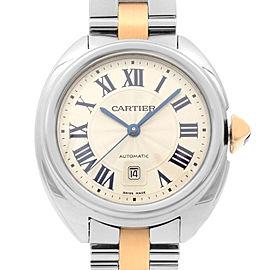 Cle de Cartier Steel 18K Rose Gold Silver Guilloche Dial Automatic Watch W2CL000