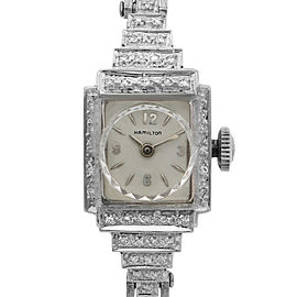 Hamilton Vintage 14K White Gold 14mm Silver Dial Quartz Ladies Bracelet Watch