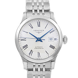 Longines Record Steel White Roman Dial Automatic Ladies Watch L2.321.4.11.6