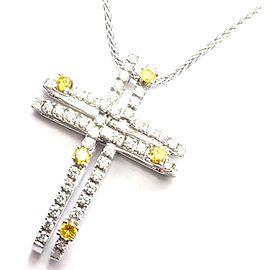 Damiani 18k White Gold White & Yellow Diamond Cross Pendant Necklace