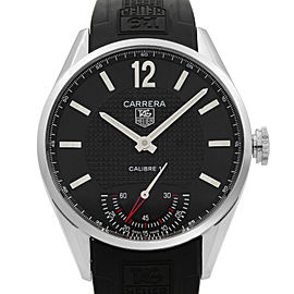 Tag Heuer Carrera Steel Leather Open Back Hand Wind Mens Watch WV3010.EB0025