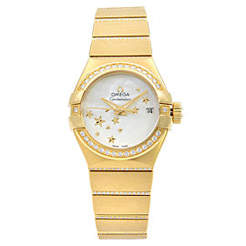 Omega Constellation 18K Gold Diamond Mop Dial Womens Watch 123.55.27.20.05.002