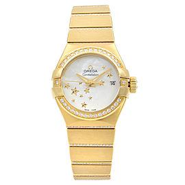 Omega Constellation 18K Gold Diamond Mop Dial Womens Watch 123.55.27.20.05.002