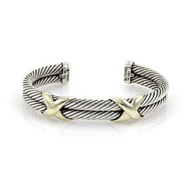 David Yurman X Design Sterling & 14k Yellow Gold Double Cable Cuff Bracelet