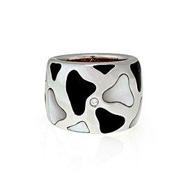 Roberto Coin Giraffe Diamond MOP Enamel 18k Gold Wide Band Ring Size 6.75