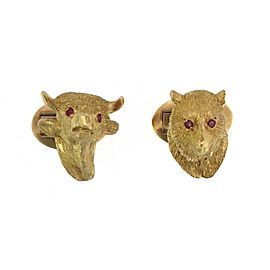 18k Yellow Gold Ruby Bull & Bear Stock Market 3D Symbol Stud Cufflinks