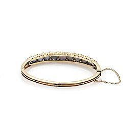 Vintage Diamonds & Star Sapphire 14k Yellow Gold Bangle Bracelet