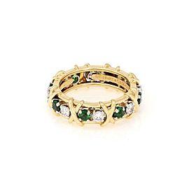 Tiffany & Co Schlumberger Diamond Tsavorite Platinum 18k Gold X Ring Size 6