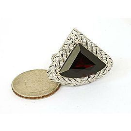 Large 16.00ct Diamonds & Red Garnet 18k White Gold Trillion Shape Leaf Ring